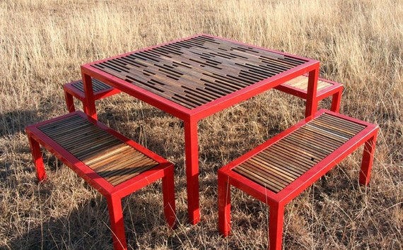 4 Foot Square Steel & Reclaimed Wood Table with 4 Benches