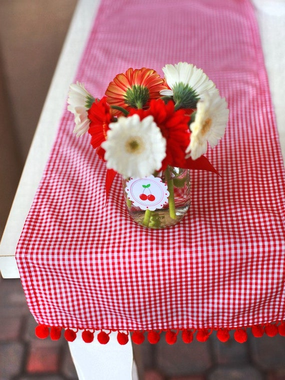 Red Gingham Table Runner Ready to ship
