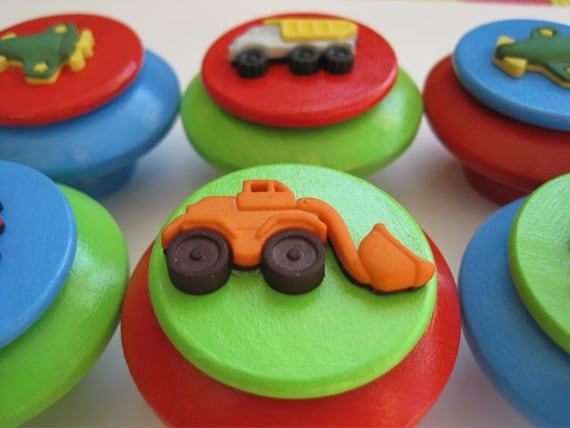 Wooden drawer knobs with vehicles for boys CUSTOM Colors set of 6