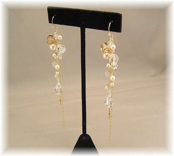 Long 14k Gold Filled Tendril Cascade Earrings Golden by Handwired from etsy.com