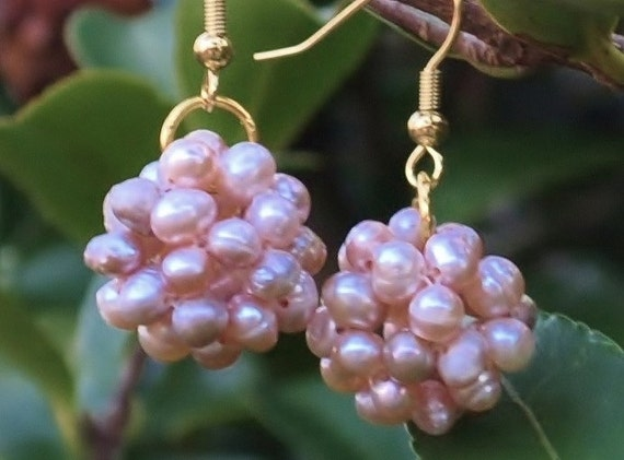 Pink pearl cluster earrings on gol wires