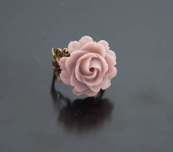 Brass Filigree Ring with Rose
