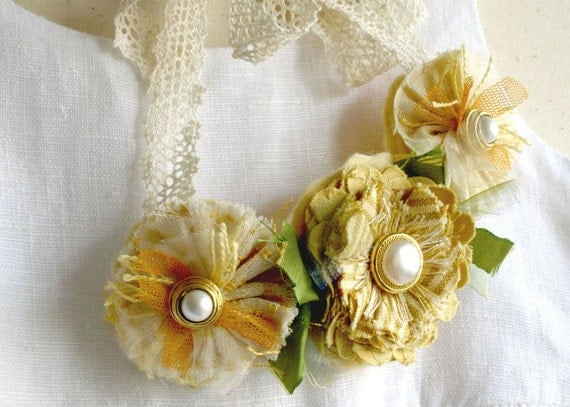 Sunny Yellow Flower Statement Necklace with Pearl Buttons