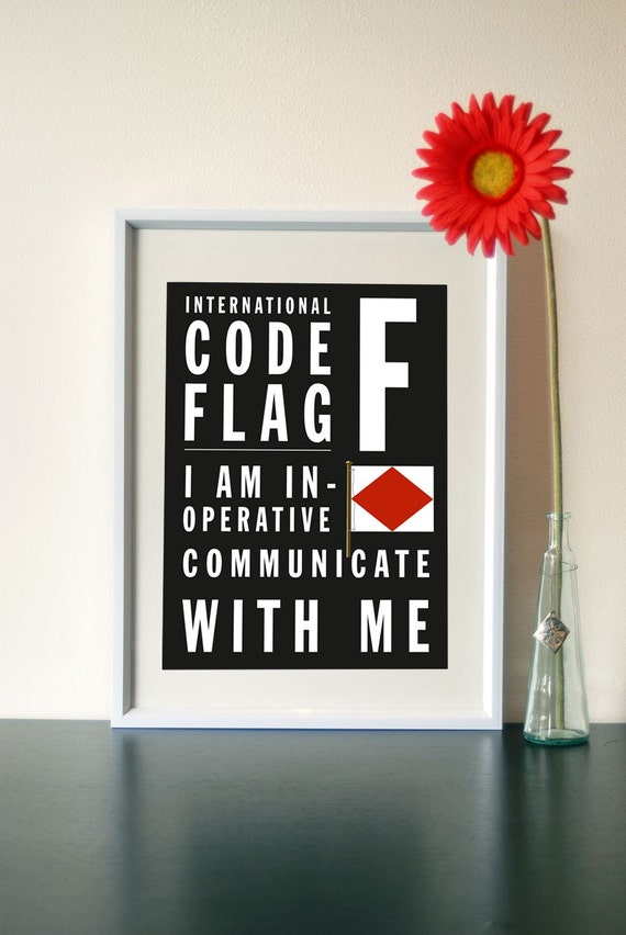 Letter F - Bus Roll International Code Flag - I am inoperative communicate with me