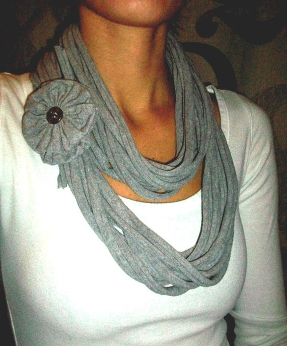 Recycled T-Shirt Scarf Necklace with Jersey Flower