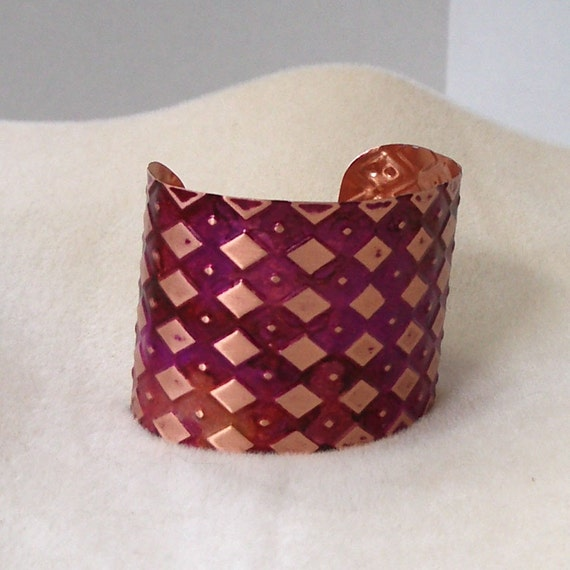 Argyle Copper Cuff Bracelet in Pink and Reds