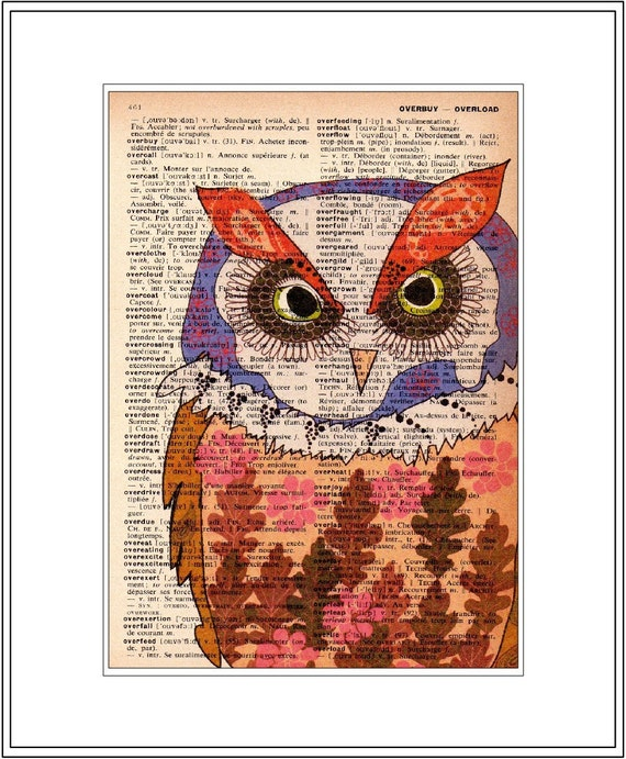owl decor - owl art print -  vintage dictionary print - vintage owl home decor