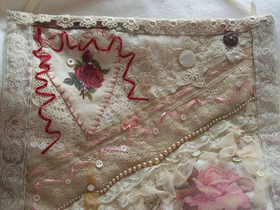 Victorian Charm Fabric and Lace Collage Wall Decor