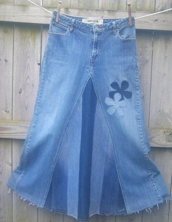 jean skirts with designs
