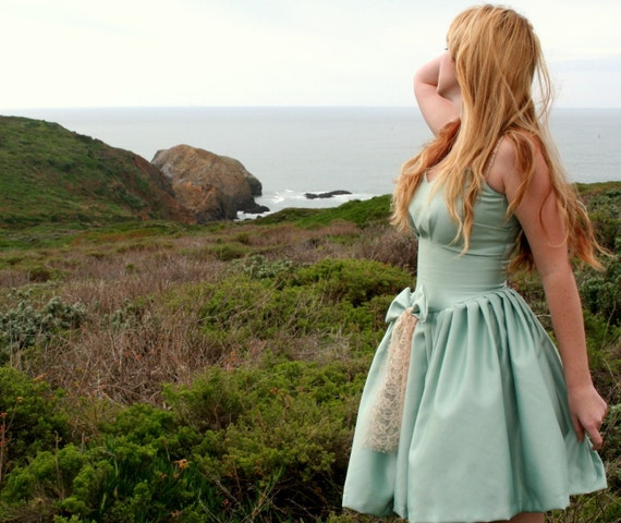 To The Sea Dress 50s Vintage Inspired Custom Sundress in Ocean Green Silk and Ecru Lace Any Size Color and Length
