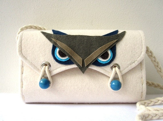 Felt Bag, Owl, White, Blue, Navy, Gray and Beige...