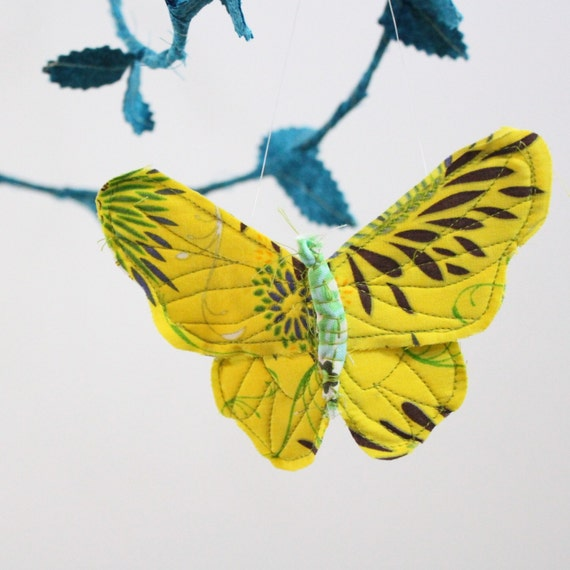 Butterfly Mobile - handmade fabric mobile in peach, bright yellow, teal, turquoise, mint green, tiffany blue, and white