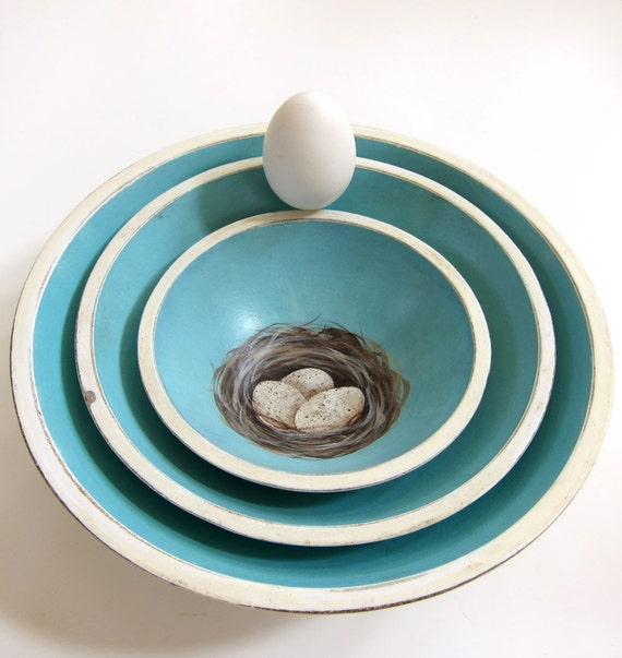 French Country Hand Painted Nesting Bowls Turquoise Blue with Nest and Eggs