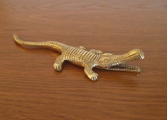 Vintage Brass Alligator