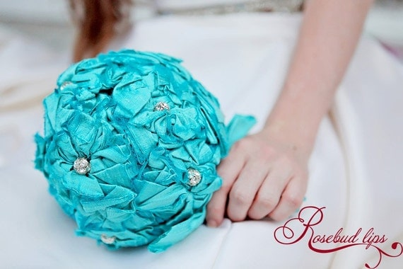 Tiffany Blue Bridal Bouquet 7 inch round