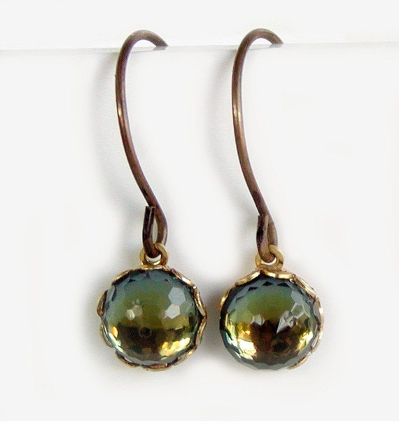 Vintage Swarovski Crystal Earrings - Rare Faceted Domes