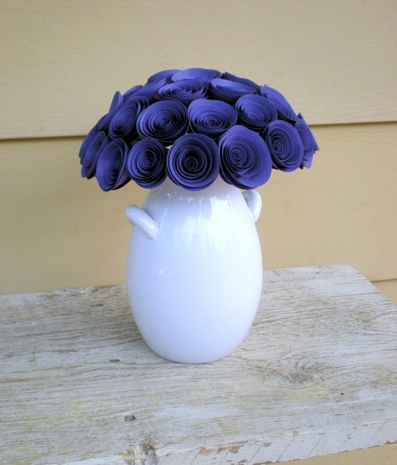 Violet Bridal Bouquet -- Large Handmade Paper Flower Bouquet -- Purple Bouquet