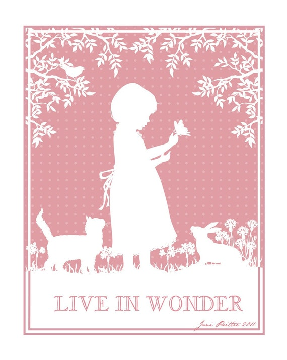 Custom Illustration, Silhouette, Girl, Cat, Bird, Rabbit, Please read text below, This is just a sample of my work.