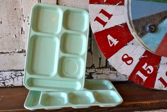 Vintage Pair of Mint Green CAFETERIA Tray