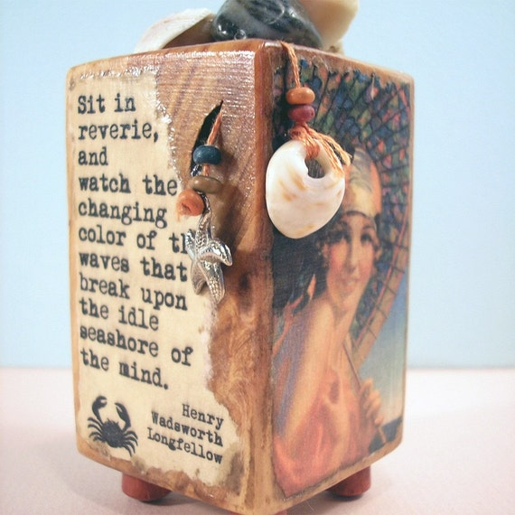 By the Seaside original mixed media wood art block