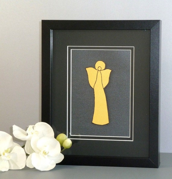 Framed Angel Art, Mixed Media Collage, Gold Black Paper, Matted