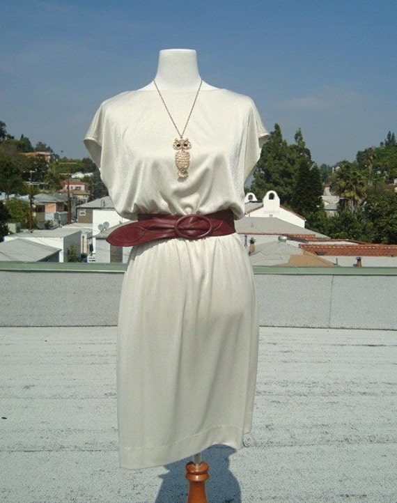 Vintage 1970's  R and K originals  pale taupe  dress