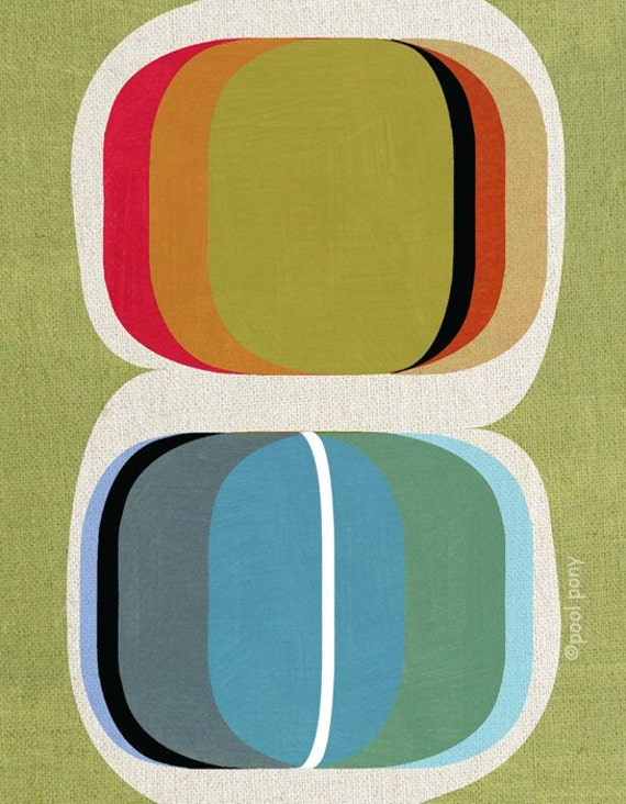 mid century design art print - colour set