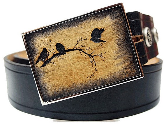 Inlay Leather Belt Buckle - Night of Crows