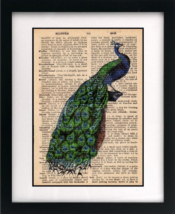 peacock print - peacock art print - vintage dictionary print - vintage book page print - vintage home decor - peacock decor - 8x10