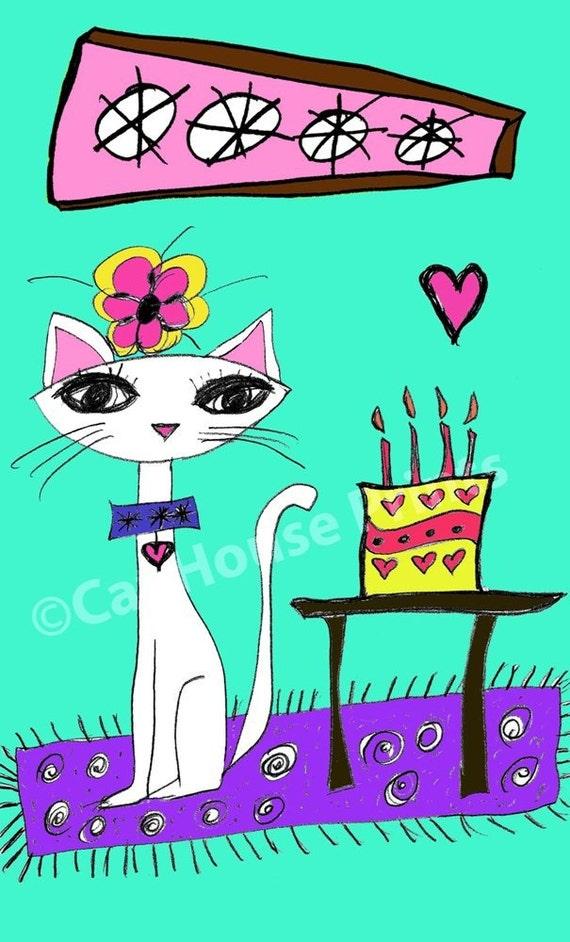 Birthday Cat Art Print 8.5 x 11