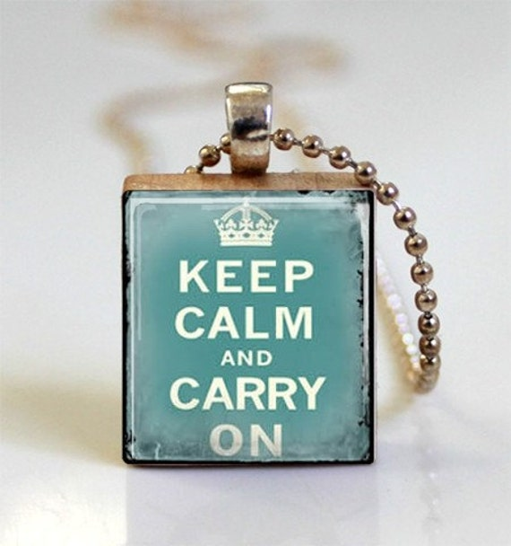 Keep Calm And Carry On Vintage Aqua Blue (ITEM S336) Free Ball Chain Necklace or Key Ring