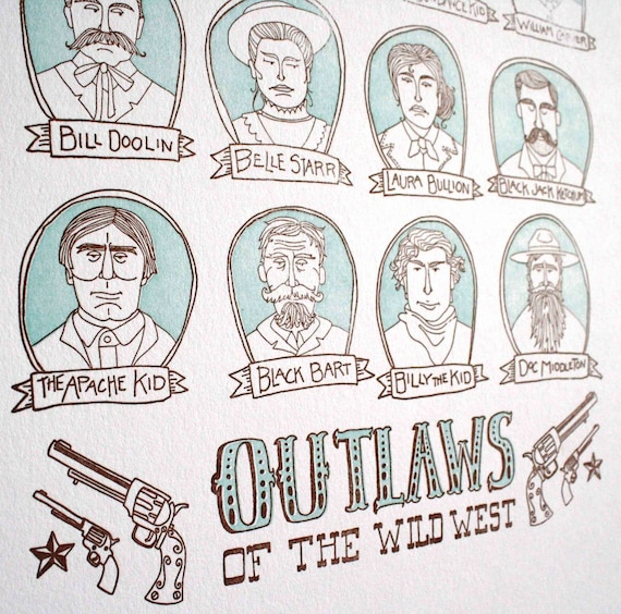 Outlaws of the Wild West Letterpress Print