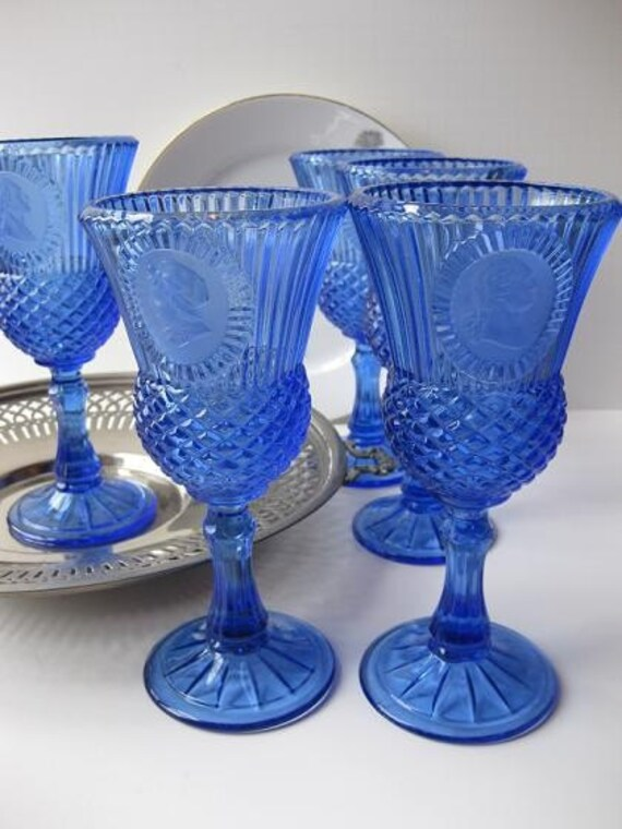 Vintage Fostoria Avon Martha and George Washington Brilliant Blue Goblets Set of Five