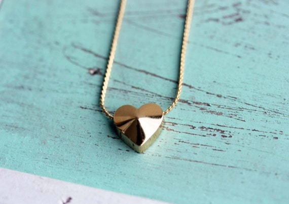 Vintage Block Heart Necklace