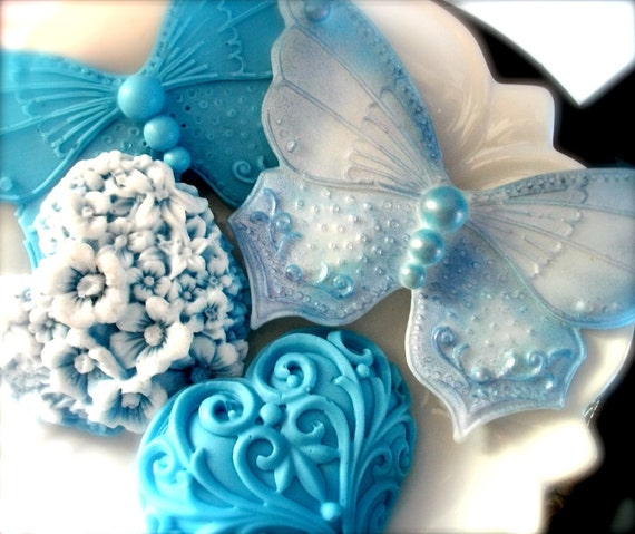 SOAP, Handmade Orange and Lemon Scented Vegetable Based Butterfly Blues