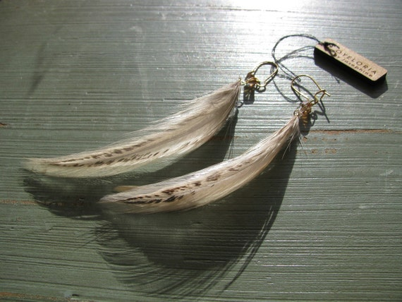 Simple feather earrings with crystal - Moreno