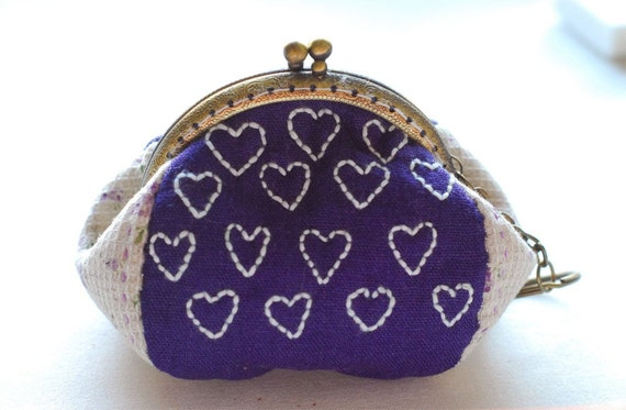 Sale Heart heart Embroidery purse (Metal Frame, My Own Design and Hand Made)