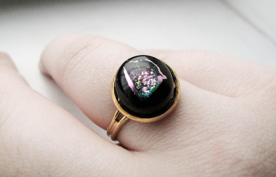 Dichroic Glass Black Glass Gold Ring - Adjustable - Nebula