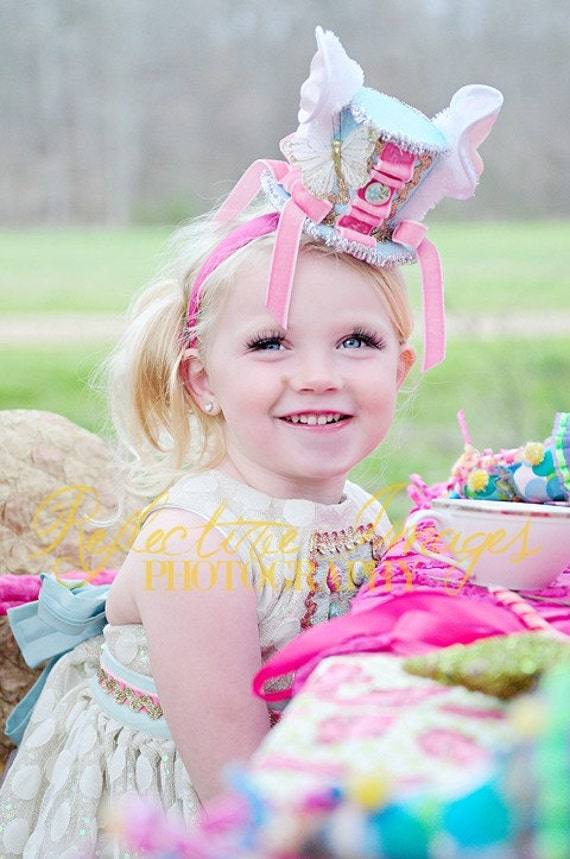 Featured in Child Style Magazine, Mad Hatter Headband, White Rabbit Hat, Bunny Headband, Birthday Headband, Tea Party Hat