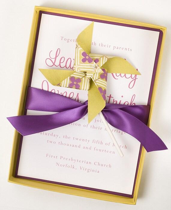 Luxury Boxed Classy Wedding Invitation POMTIKI PINWHEEL