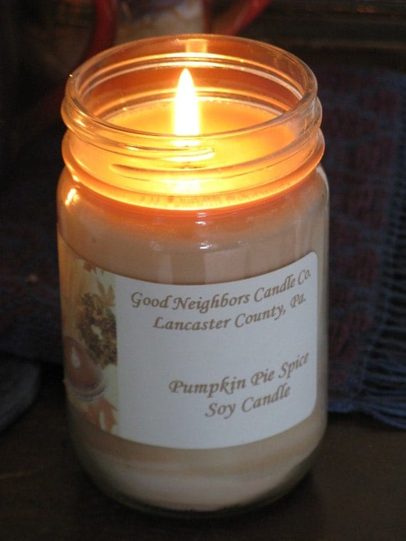 Pumpkin Pie Spice Soy Jar Candle with daisy cut lid 12 ounce Fall Thanksgiving