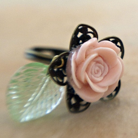 Pink Rose Adjustable Brass Filigree Ring