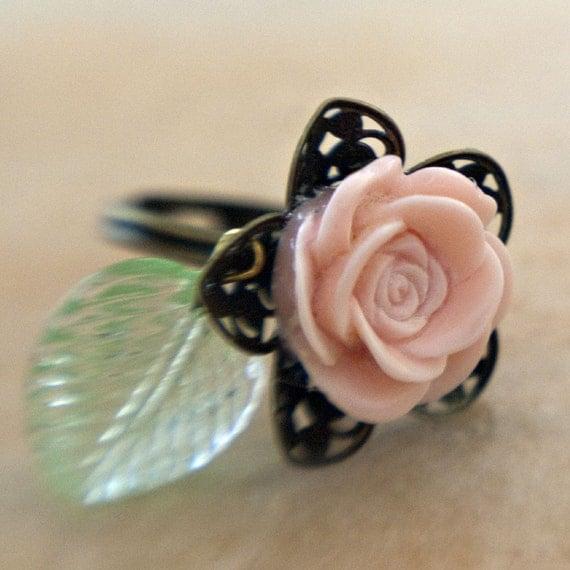 Pink Rose Adjustable Brass Filigree Ring
