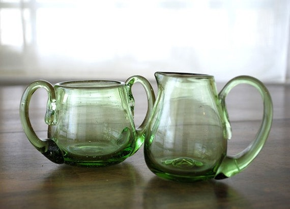 Glass Cream and Sugar, Green Hand-Blown