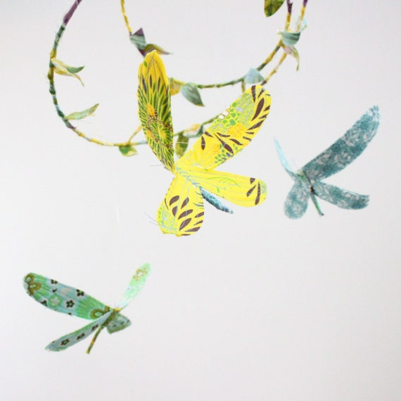 Dragonfly mobile - 3 dragonflies dream of spring in sunshine yellow, lavender purple, aquamarine, sky blue, sea foam green, white