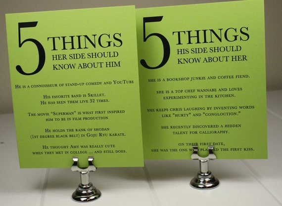 Fun Reception Cards Five Things About Him or Her