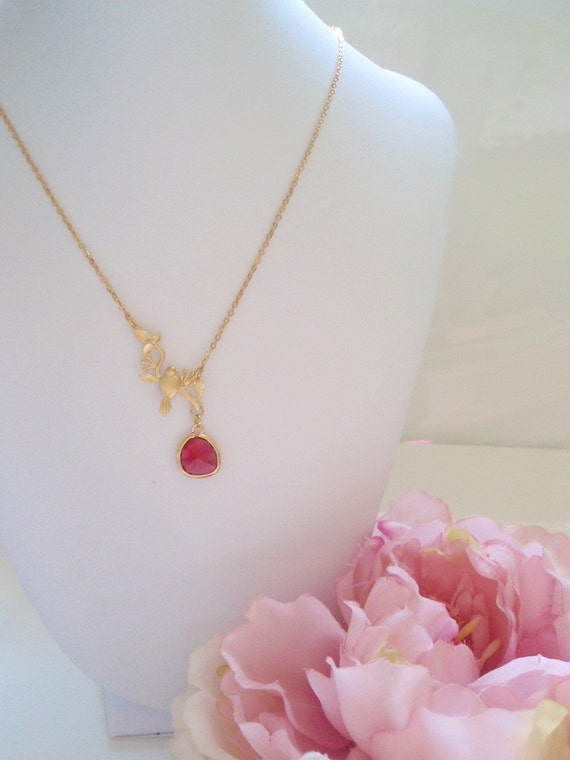 CHRISTINA - Gold Bird on a Branch Fuschia Drop Necklace