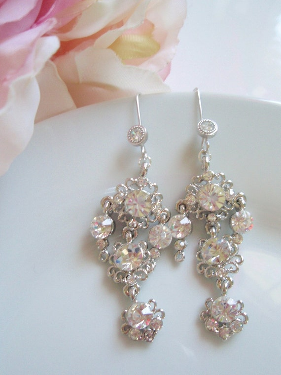 VIVIAN- White Gold and Crystal Vintage Inspired Earrings
