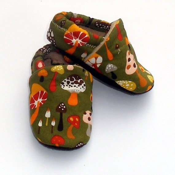 Wild Mushrooms on Forest Green Handmade Baby Shoes by Growing Up Wild- Size 0 3 6 9 12 18 24 months