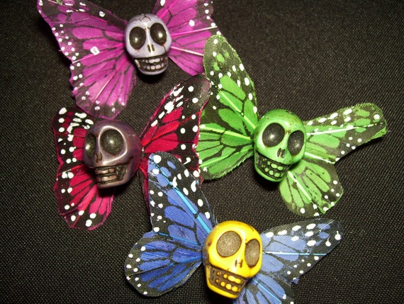 SKULLERFLY- set of 4 skull with butterfly wings on small clips----ready to ship----